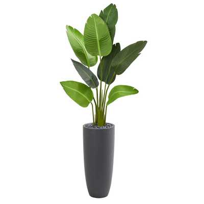 Indoor 5.5 ft. Traveler's Palm Artificial Tree in Gray Planter - Home Depot