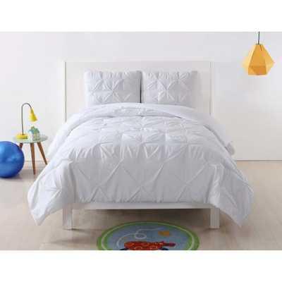 Pem America Anytime Pleated White Full/Queen Comforter Set - Home Depot