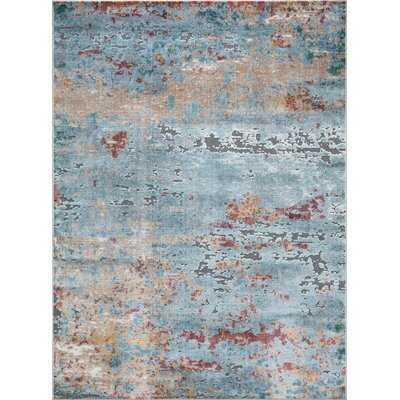 Louisburg Abstract Soft and Plush Blue/Beige Area Rug - Wayfair