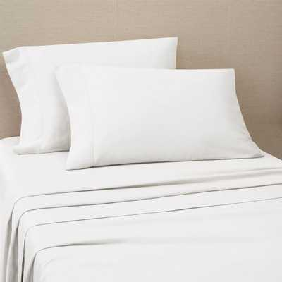 Portico Organic Cotton 300 Thread Count Washed Bright White Sheet Set Queen - Home Depot