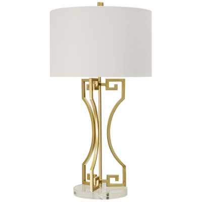 StyleCraft 30 in. Gold Table Lamp with Brussels White Hardback Fabric Shade - Home Depot