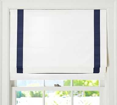 "Grosgrain Ribbon Cordless Roman Shade, 32 x 64"", Ink/White - Pottery Barn"