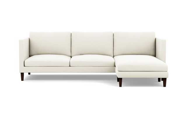 Oliver Reversible Sectional with White Ivory Fabric, right facing chaise, and Oiled Walnut legs - Interior Define