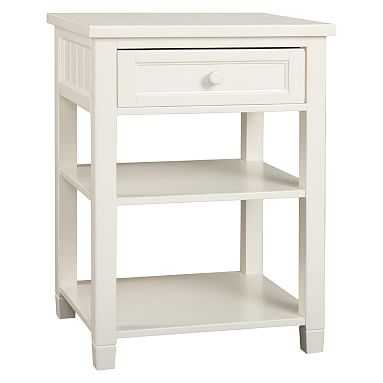 Beadboard Bedside Table, Water-Based Simply White - Pottery Barn Teen