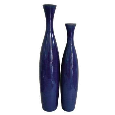 Cobalt Blue Glaze Ceramic Tall Decorative Vases (Set of 2) - Home Depot