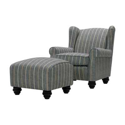 Handy Living Archie Charcoal and Tan Striped Fabric Wingback Chair and Ottoman Set, Charcoal & Tan Stripe - Home Depot