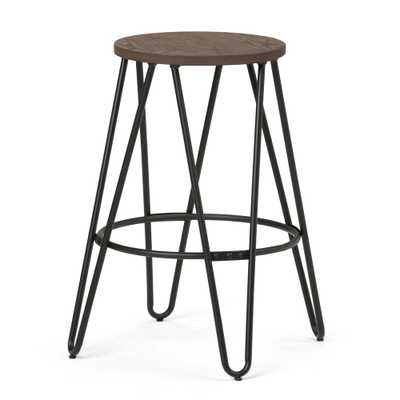 Simeon 24 in. Black and Cocoa Brown Metal Counter Height Stool with Wood Seat - Home Depot