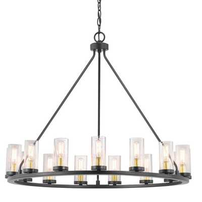 Progress Lighting Hartwell 15-Light Antique Bronze Chandelier with Natural Brass Accents and Clear Seeded Glass - Home Depot