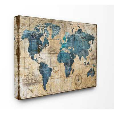 "Stupell Industries 16 in. x 20 in. ""Vintage Abstract World Map"" by Art Licensing Studio Canvas Wall Art, Multi-Colored - Home Depot"