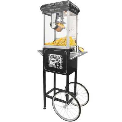 4 oz. Popcorn Machine & Cart, Black/Silver - Home Depot