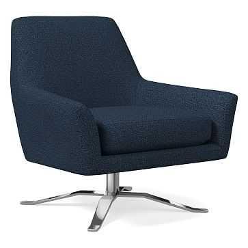 Lucas Swivel Base Chair, Chenille Tweed, Nightshade, Polished Nickel, Poly - West Elm