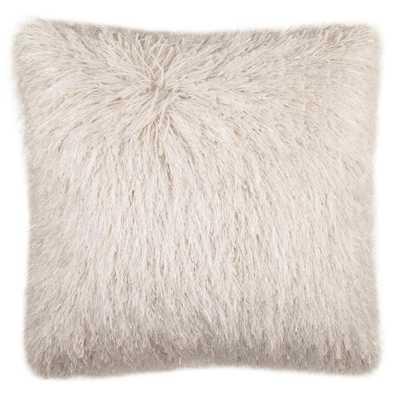 Shag Modish Metallic Faux Plush Fur Pillow, Metallic Snow - Home Depot
