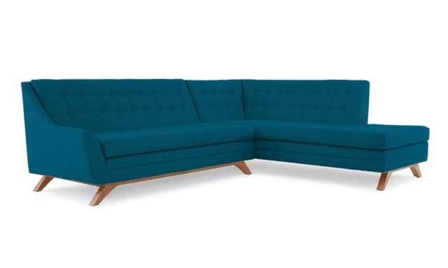 Blue Aubrey Mid Century Modern Sectional with Bumper (2 piece) - Key Largo Zenith Teal - Medium - Left - Joybird
