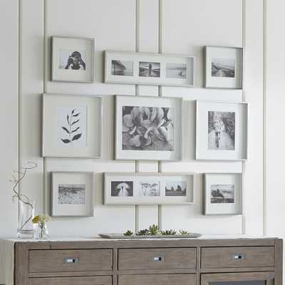 Brushed Silver Picture Frame Gallery, Set of 9 - Crate and Barrel
