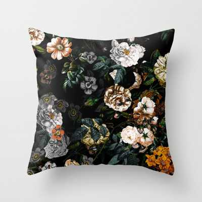 """Floral Night Garden Throw Pillow - Outdoor Cover (16"""" x 16"""") with pillow insert by Burcukorkmazyurek - Society6"""