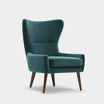 Erik Wing Chair, Velvet, Petrol Dark Oak - West Elm