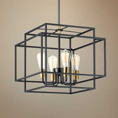 """Maxim Liner 17 3/4"""" Wide Black and Satin Brass Pendant Light - Style # 67P21 - Lamps Plus"""