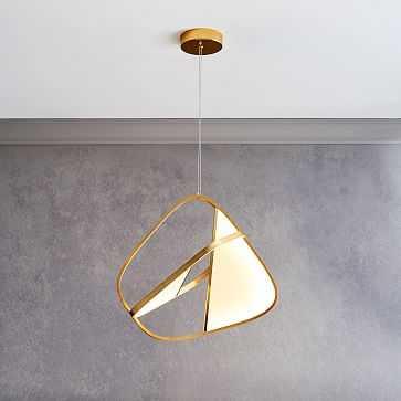 Revolve LED Pendant, Milk Glass, Antique Brass - West Elm