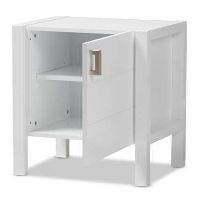 Mandel 1-Door White Nightstand - Home Depot