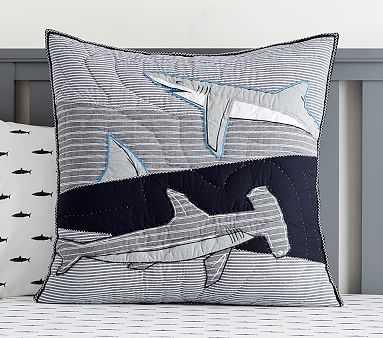 Patchwork Shark Quilt, Euro Sham, Blue Multi - Pottery Barn Kids