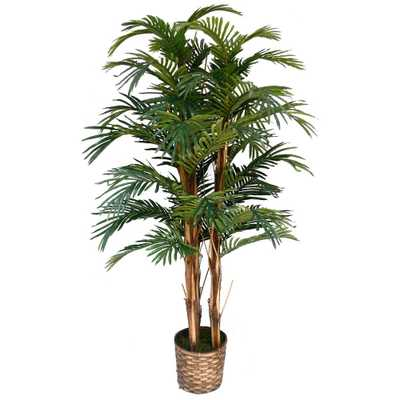 5 ft. Tall High End Realistic Silk Palm Tree with Wicker Basket Planter, Browns/Tans - Home Depot