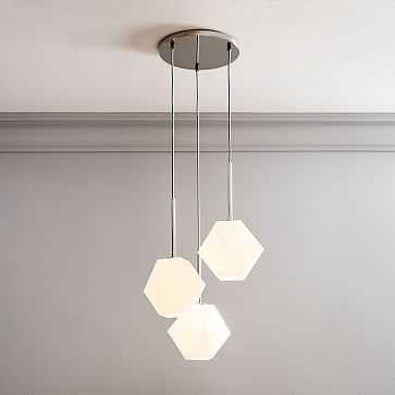 Sculptural Glass 3Lt Round Faceted Chandelier Small Milk Shade Nickel Canopy V2 - West Elm