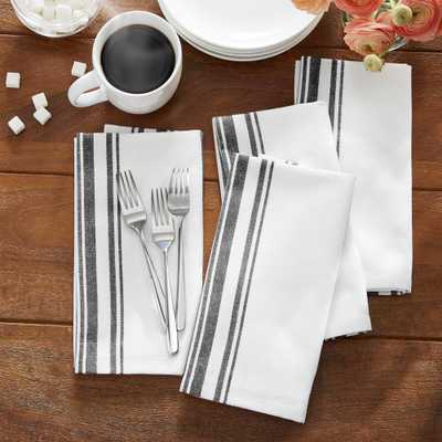 Farmhouse Living Homestead Stripe 20 in. x 20 in. Black/White Napkins (4-Pack) - Home Depot