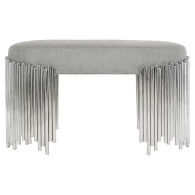 Dahlia Modern Classic Grey Upholstered Steel Base Oval Bench - Kathy Kuo Home