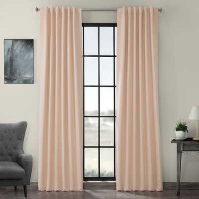 Exclusive Fabrics & Furnishings Bellini Peach Pink Blackout Curtain - 50 in. W x 108 in. L - Home Depot