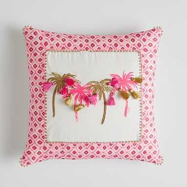"""Lilly Pulitzer Palm Pillow Cover, 18"""" x18"""", Hotty Pink - Pottery Barn Teen"""
