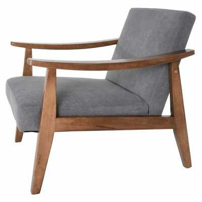 Heiser Accent Lounge Chair Solid Hardwood Mid Century Modern Upholstered Charcoal Grey - Wayfair