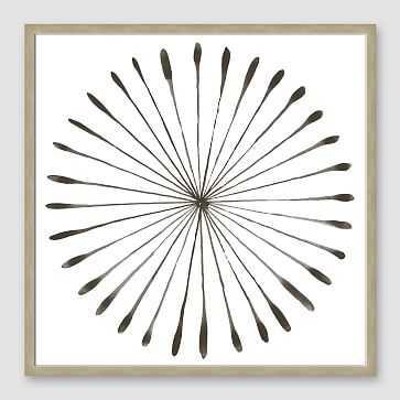 "Framed Print, Gray WaterColor Burst I, Silver Frame, 20"" x 20"" - West Elm"