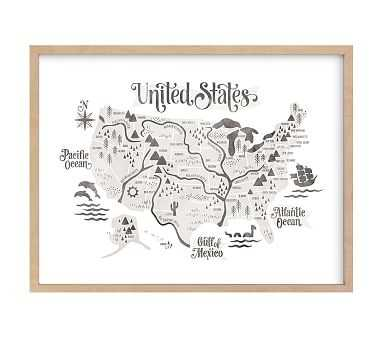 Pirate Map Wall Art by Minted(R), Natural, 40x30 - Pottery Barn Kids