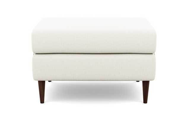 Asher Ottoman with Ivory Fabric and Oiled Walnut legs - Interior Define