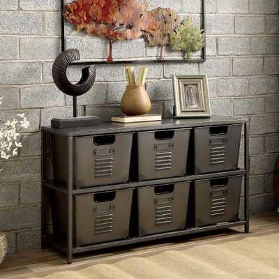 Furniture of America Becca Gun Metal Organizer with 6-Storage Bins - Home Depot