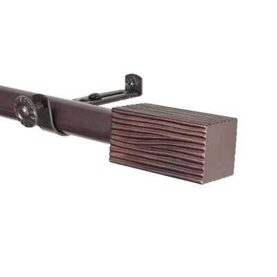 Rod Desyne 66 in. - 120 in. Cocoa (Brown) Telescoping Curtain Rod Kit with Alder Finial - Home Depot