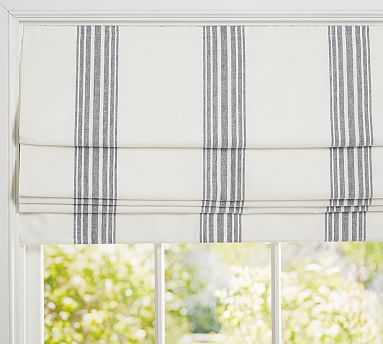 "Riviera Stripe Cordless Roman Shade, 32 x 64"", Charcoal - Pottery Barn"