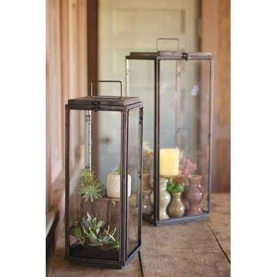 Rectangle 2 Piece Glass Lantern Set - Birch Lane