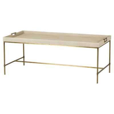 Resource Decor Lexi Hollywood Brass Ivory Shagreen Tray Coffee Table - Kathy Kuo Home