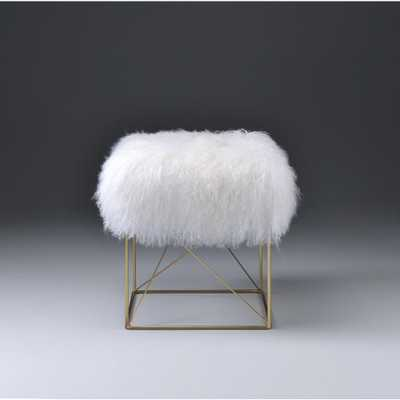 Bagley White and Gold Accent Ottoman, White And Gold Brass - Home Depot