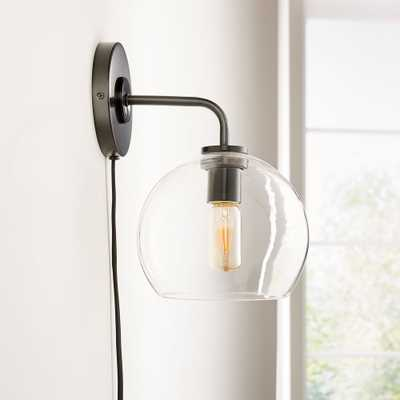 Arren Black Wall Sconce with Clear Round Shade - Crate and Barrel