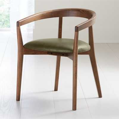 Cullen Shiitake Olive Round Back Dining Chair - Crate and Barrel