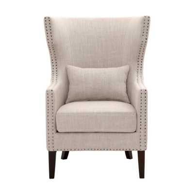 Bentley Birch Neutral Linen Upholstered Arm Chair, Birch Linen Espresso - Home Depot
