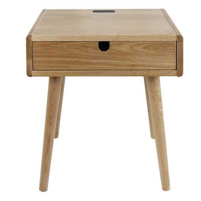 Freedom Natural USB Port Solid American Oak Nightstand/End Table, Natural(Oak) - Home Depot