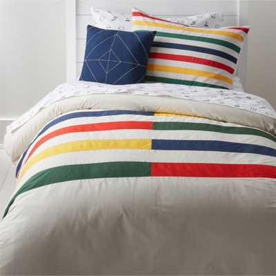 Modern Full/Queen Striped Duvet Cover - Crate and Barrel