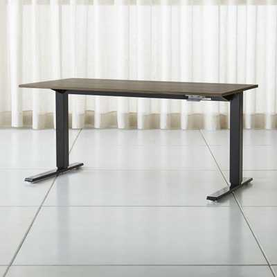"Humanscale ® Float ® Sit/Stand 60"" Walnut Desk - Crate and Barrel"