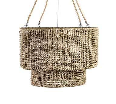 Rattan Double Drum Tiered Pendant, Brown - Pottery Barn