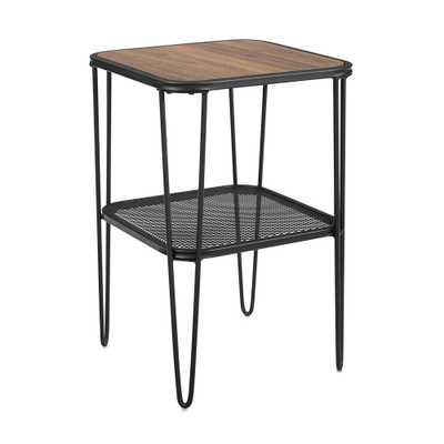 Industrial Hairpin Leg Side Table with Metal Mesh Shelf Dark Walnut - Saracina Home - Target