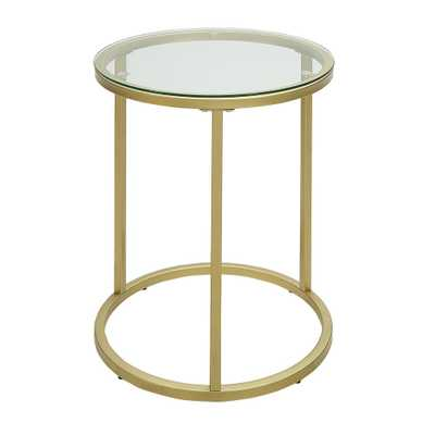 Kinston Gold Glass Top Accent Table - Home Depot