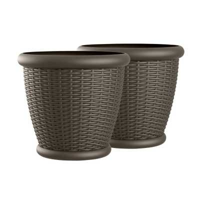 Willow 22 in. Round Java Blow Molded Resin Planter (2-Pack) - Home Depot